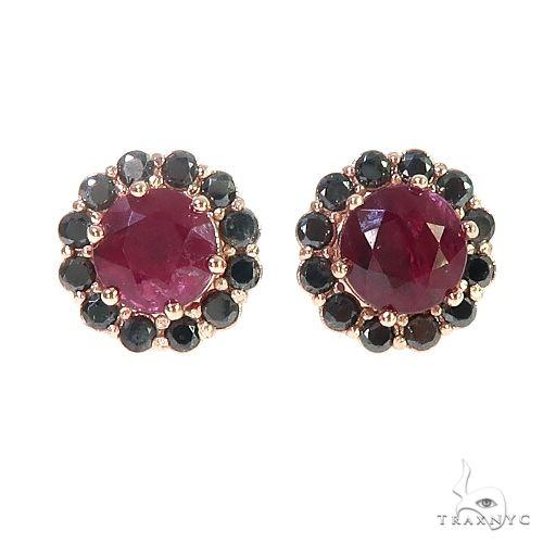 14K Gold Black Diamond Ruby Earrings 66646 Stone