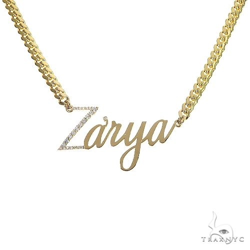 14K Gold Diamond Name Pendant With Miami Cuban Link Chain 66651 Metal