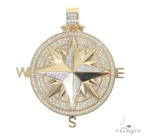14K Gold Compass Diamond Pendant 66666 Metal