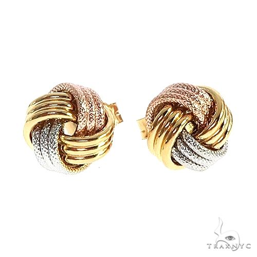 14K Gold 3 Tone Knot Earrings 66671 Metal