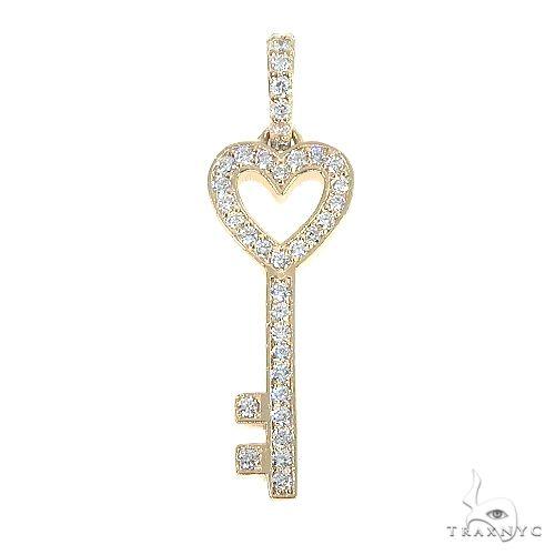 14K Gold Heart Key Diamond Pendant 66680 Style