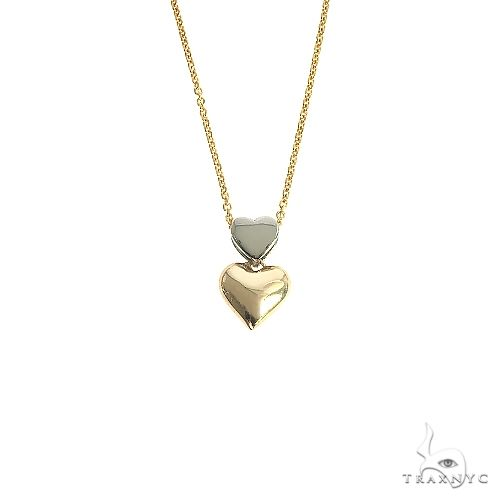 14K 2 Tone Gold Double Heart Necklace 66683 Style