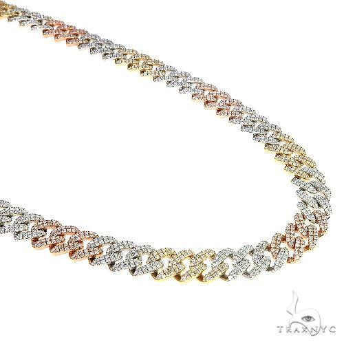 3 Tone Gold Miami Cuban Diamond Chain 66685 Diamond