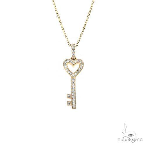 14K Gold Heart Key Diamond Pendant Set 66691 Style