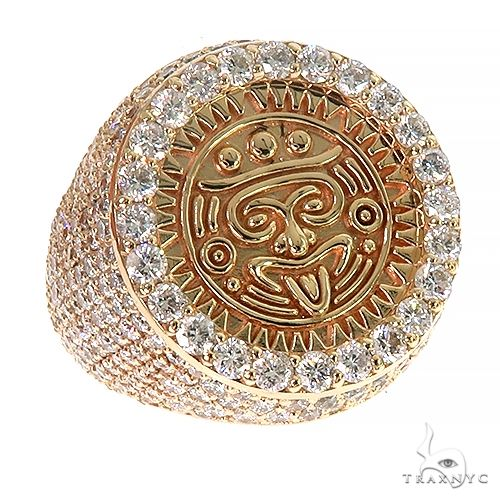 Custom Made 14K Gold Aztec Mayan Coin Ring 66695 Metal