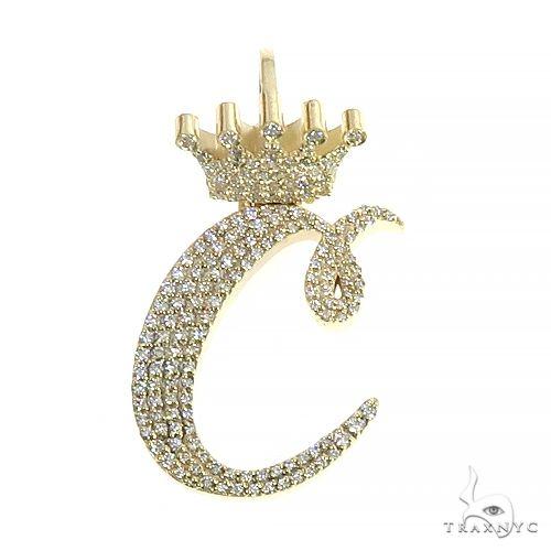 Custom Made 'C' Diamond Crown Pendant 66704 Metal