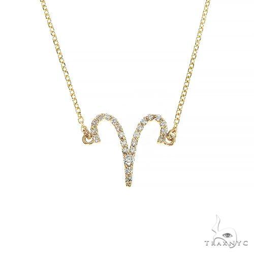 14K Gold Aries Diamond Necklace 66716 Diamond