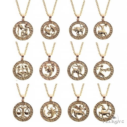 14K Gold Zodiac Sign Pendant Set 66724 Metal