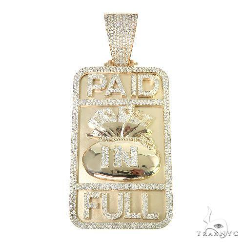 Custom Made 'Paid In Full' Money Bag Diamond Pendant 66730 Metal