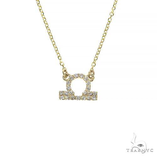 14K Gold Libra Diamond Necklace 66722 Diamond
