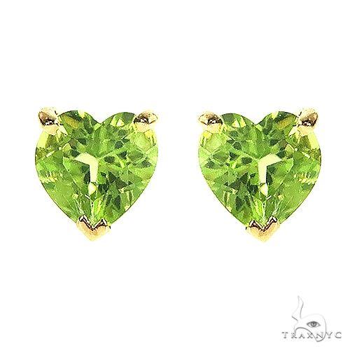 14K Gold Heart Shape Peridot Earrings 66734 Stone