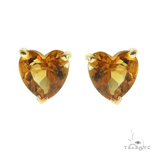 14K Gold Heart Shape Citrine Earrings 66735 Stone