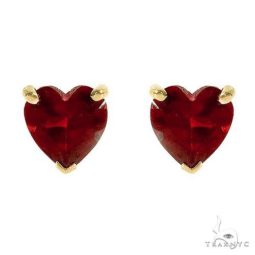 14K Gold Heart Shape Garnet Earrings 66736 Stone