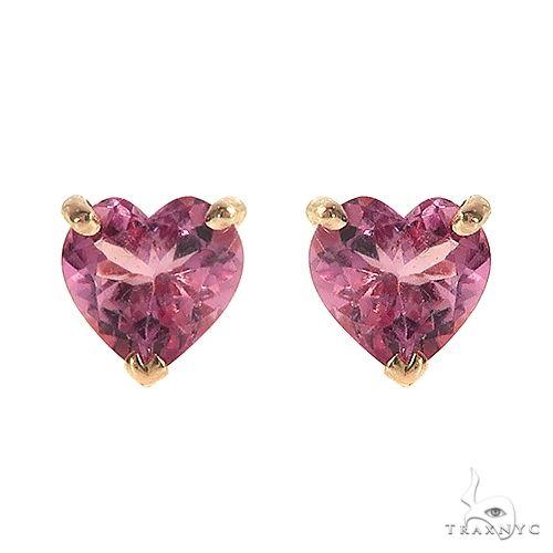 14K Gold Heart Shape Pink Tourmaline Earrings 66737 Stone