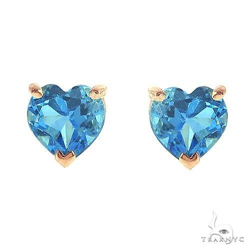 14K Gold Heart Shape Swiss Blue Topaz Earrings 66738 Stone