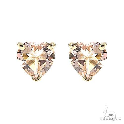 14K Gold Heart Shape Morganite Earrings 66739 Stone