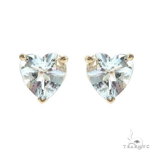 14K Gold Heart Shape Aquamarine  Earrings 66740 Stone