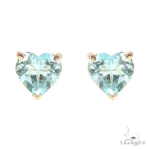 14K Gold Heart Shape Blue Topaz  Earrings 66741 Stone