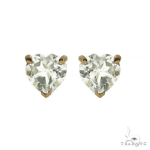 14K Gold Heart Shape White Topaz  Earrings 66742 Stone