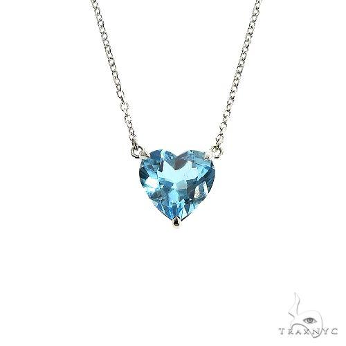 14K Gold Heart Shape Blue Topaz Necklace 66743 Gemstone