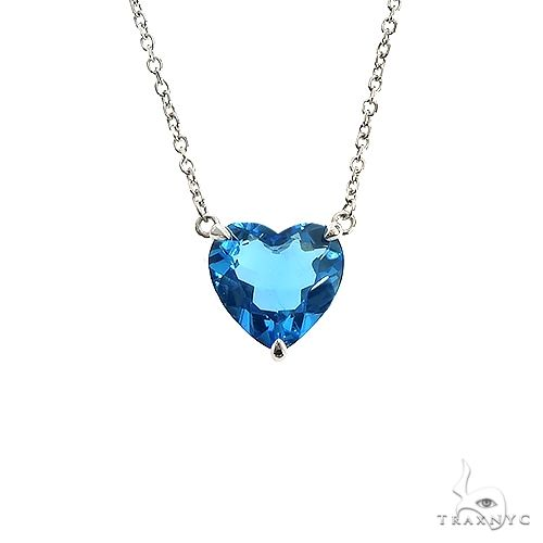 14K Gold Heart Shape Swiss Blue Topaz Necklace 66744 Gemstone