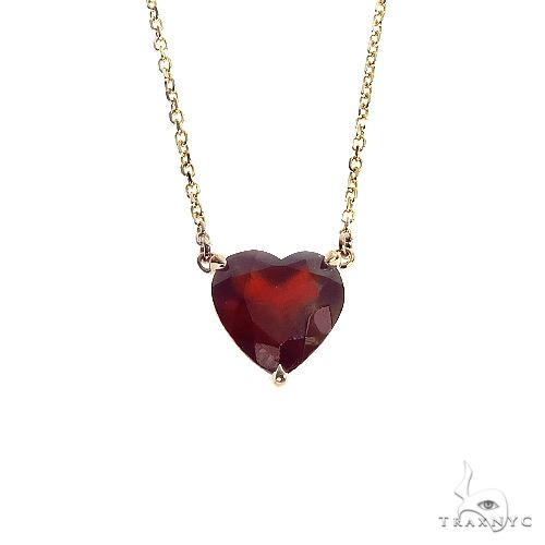 14K Gold Heart Shape Garnet Necklace 66748 Gemstone