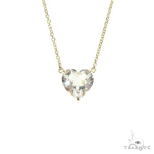 14K Gold Heart Shape White Topaz Necklace 66749 Gemstone