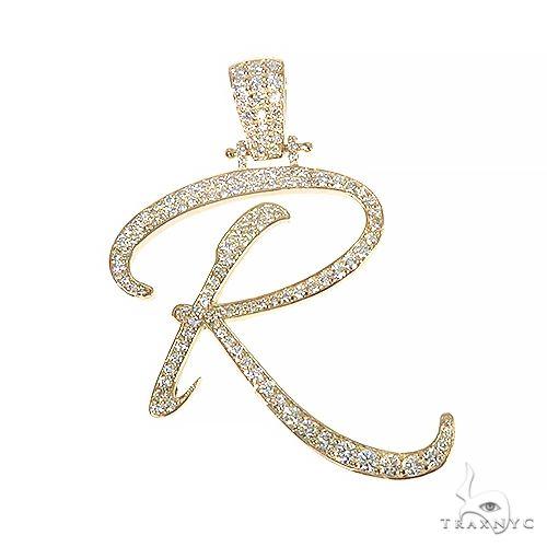 14k Gold Diamond 'R' Pendant 66752 Metal