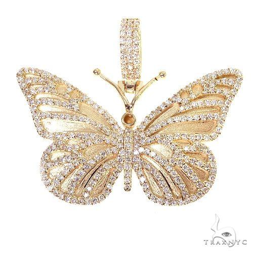 14K Gold Butterfly Diamond Pendant 66759 Metal