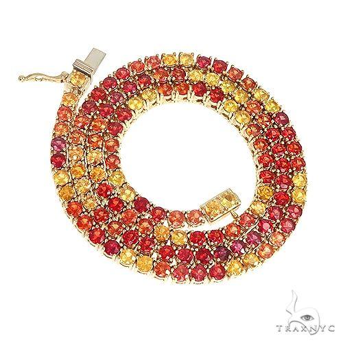 Fire Sapphire Multi Colored Tennis Chain 66767 Men Specials