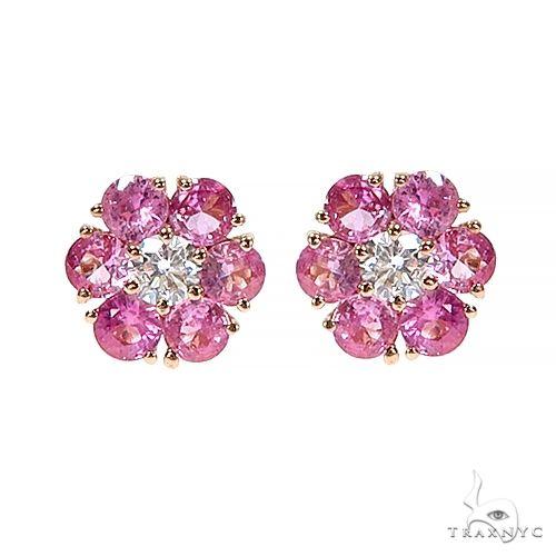 Large Cherry Blossom Sapphire Diamond Flower Earrings 66788 Style