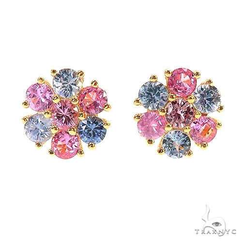 Large Multi Colored Sapphire Flower Earrings 66790 Style