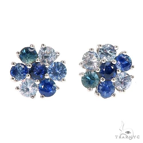 Large Water Sapphire Flower Earrings 66791 Style