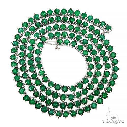 14K Gold 3 Prong Emerald Tennis Chain 66796 Men Specials