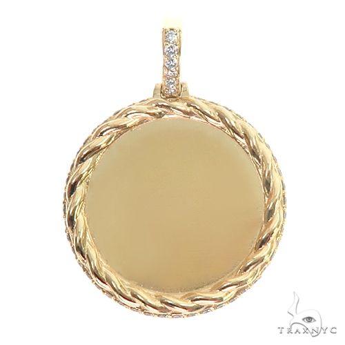 14K Gold Side Diamond Frame Memorial Photo Pendant 66800 Style