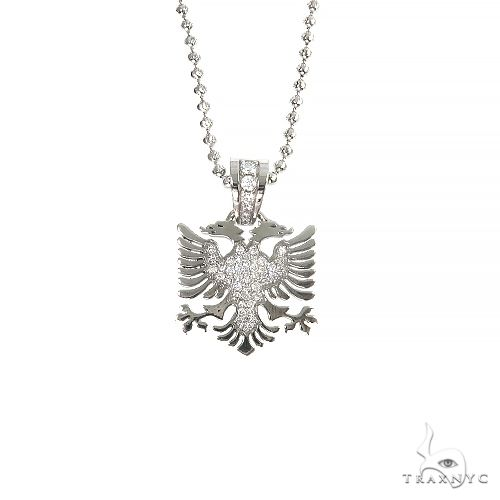 14K Gold Albanian Eagle Diamond Pendant Set 66815 Metal