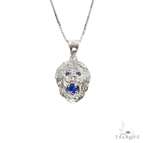 TraxNYC Blue Sapphire Lion Pendant and Box Chain Set 66832 Style