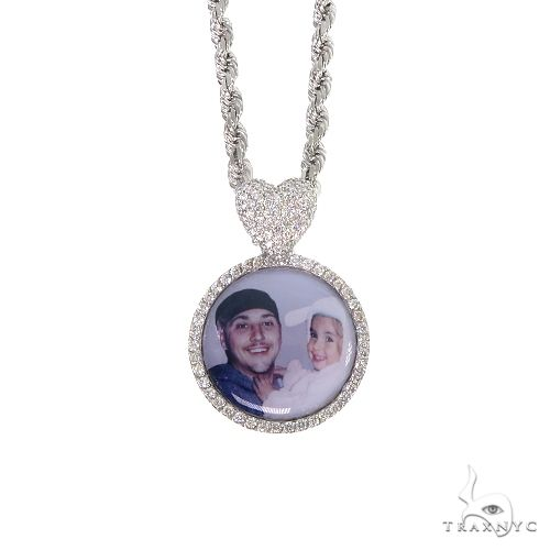 14K Gold Diamond Photo Pendant and Rope Chain Set 66834 Metal