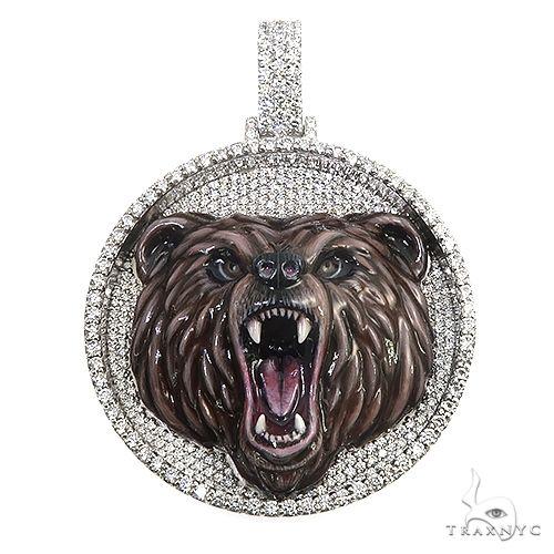 Custom Made Grizzly Bear Diamond Pendant 66845 Metal