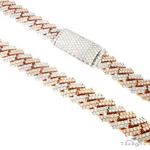 Two Tone Prong Set Diamond Cuban Chain By Dan 66852 Diamond