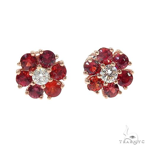 Small 14K Gold Red Sapphire Diamond Flower Earrings 66854 Style