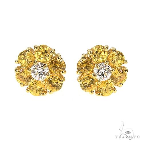 Small 14K Gold Yellow Sapphire Diamond Flower Earrings 66855 Style