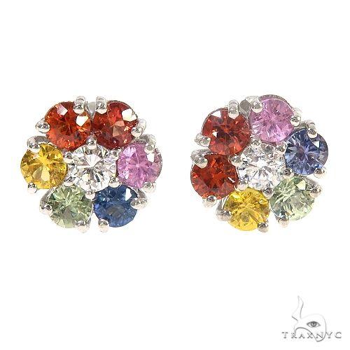 Small 14K Gold Rainbow Sapphire Diamond Flower Earrings 66857 Style