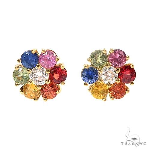 Large Rainbow Diamond Flower Earrings 66858 Style