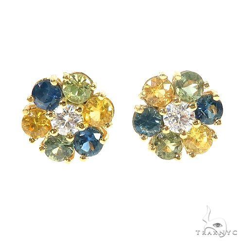 Large BYG Sapphire Diamond  Flower Earrings 66860 Style
