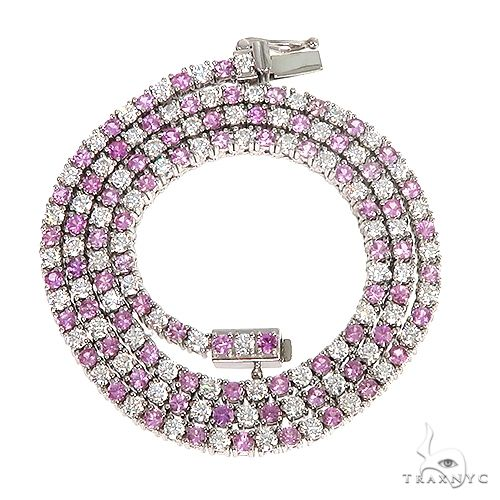 Pink Sapphire And Diamond Majesty Tennis Chain 66862 Men Specials