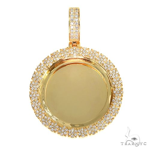 14K Gold Flower Frame Diamond Photo Pendant 66880 Style
