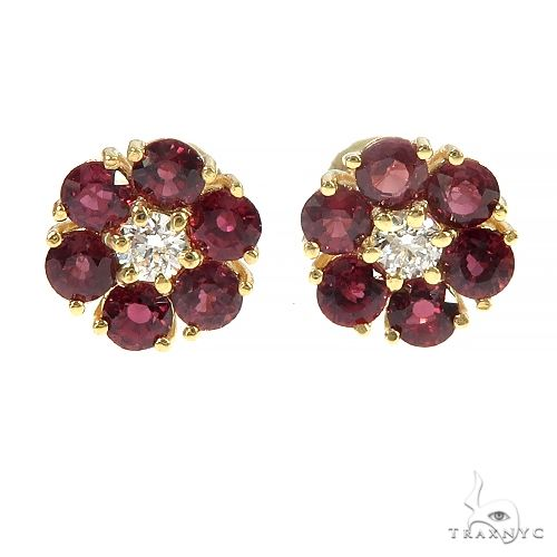 Mini Crimson Sapphire Diamond Flower Earrings 66894 Multicolor SAPPHIRE