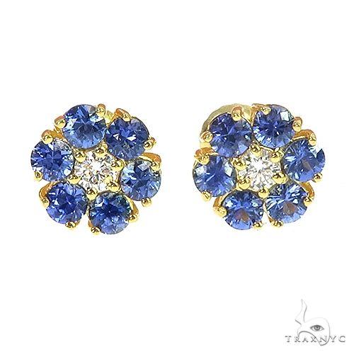 Mini Ocean Blue Sapphire Diamond Flower Earrings 66896 Multicolor SAPPHIRE