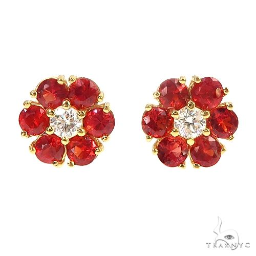 Large Blood Red Sapphire Diamond Flower Earrings 66900 Style